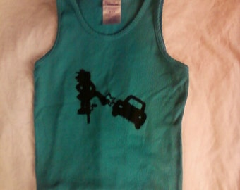 Child Size, My Bike Will Smash Your Car, Turquoise Ribbed Tank Top, Size M 7/8