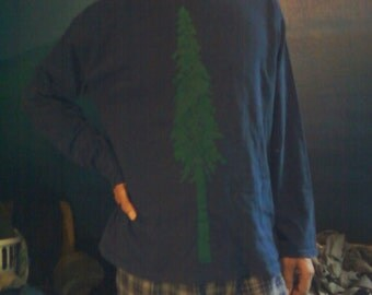 Giant Douglas Fir Tree Print, Navy Blue T Shirt with Green Ink, Size Large - screenprint