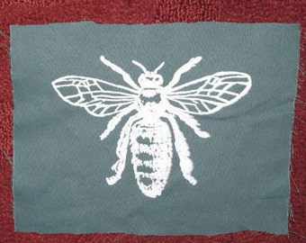 Honey Bee Patch, Green - insect patch, bug patch, entomology, science patches Silkscreen Screenprint Drawing Image of Insect Bug Critter