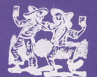 purple drinking skeletons patch - jose posada art - purple or green, punk patch, halloween, day of the dead, drinking, beer, brew, homebrew