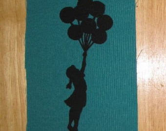 Punk Patch - Balloon Girl Sillouhette - Inspired by Banksy Street Art - Black Ink on Turquoise Blue Green Canvas - stencil