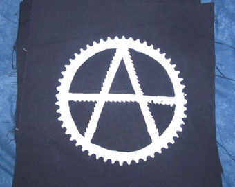 Anarchy Patch - Anarchism Back Patch Symbol, with Saw Blades and Bike Sprocket - Large for Back or Bag, White on Black, Anarchy Punk Patch