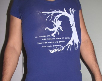 Angry Ent Tree Shirt - pardon me, thou bleeding piece of earth, that I am gentle w/ these butchers, Large Fitted V Neck Shirt