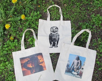 Custom Print Tote Bags - Any Design You Want on Sturdy, Natural, Cotton Bags - off white, beige, screenprint, punk, nature, anarchy prints