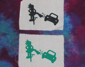 Bike Kicks Car Patch, Green or Black on White, Sturdy Canvas - choose color, bike patch, punk patches, custom, natural