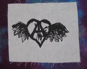 flying forest defender anarchy heart  - choose color, green OR black - tree, punk patch, anarchy patches, original art