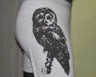 Spotted Owl Boxer Shorts, Large, Black on Grey Boxers - owl shorts, Mens Unisex Underwear, Screenprint, Gray, hoot, underwear, bird, hoot