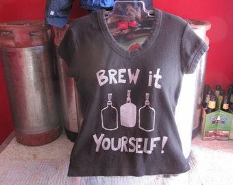 Brew It Yourself - Small Black Fitted T Shirt - tee shirt,  homebrew print tshirt, unisex, women, gift, beer shirt, diy, carboy, hops barley