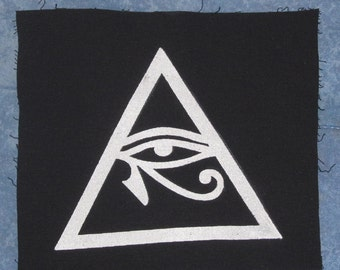 Illuminati Symbol, Eye of Horus in Triangle Patch, Large - occult patches, punk, conspiracy all seeing eye providence, pyramid, protection