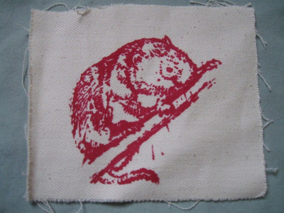 Red Tree Vole, Red on White Canvas - animal patch, rodent forest punk, earth first!, spotted owl food, ancient forests old growth trees tree