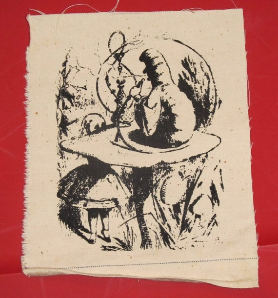 Alice in Wonderland Smoking Caterpillar Patch - Black on White Canvas