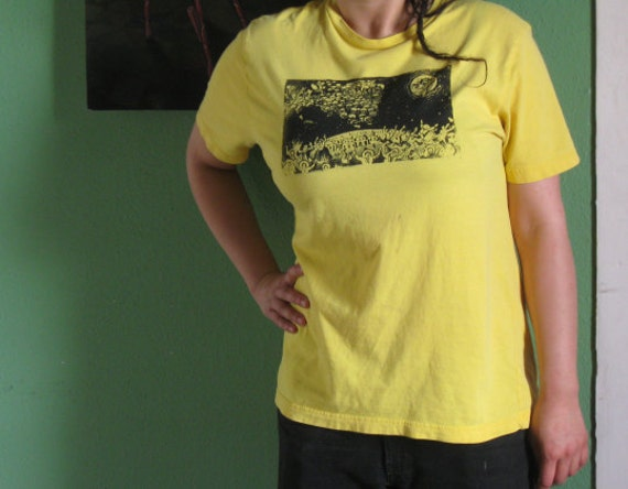 yellow on earth as it is in heaven  t shirt, large - screenprint art collage from jose posada woodcut print