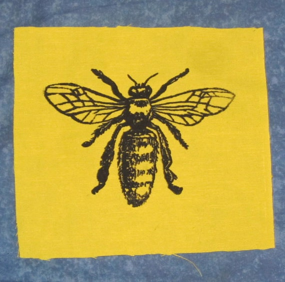 Honey Bee Patch -  Black Ink on Yellow Fabric - bee patch, Silkscreen Screenprint Drawing diagram Insect Bug Critter Punk Animal Patch honey