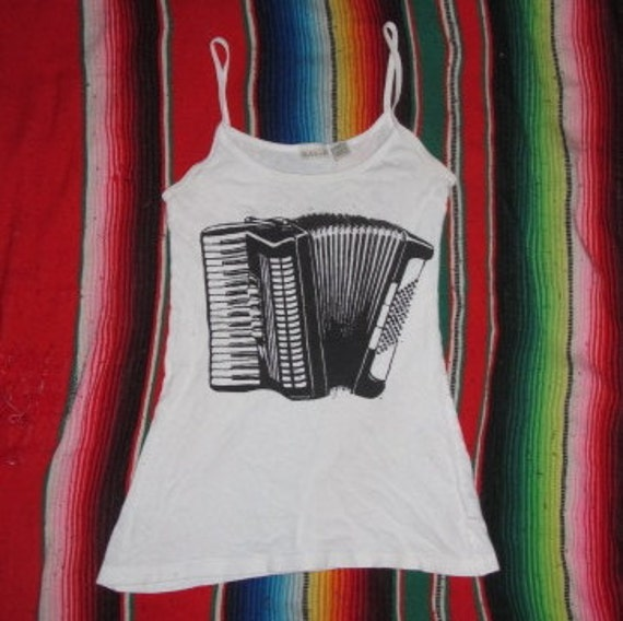 Accordion Tank Top - Black on White, Small - lavender, spaghetti strap, upcycle, recycle, shirt, extra xs, accordian punx