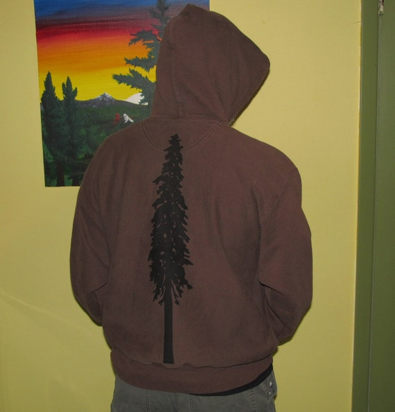 Giant Douglas Fir Tree, on Brown Heavyweight Hoodie, Large - hooded sweatshirt drawstring hood warm winter fall cold pocket