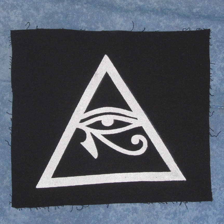 Illuminati Symbol Eye of Horus in Triangle Patch Large Eye Of Horus In Triangle