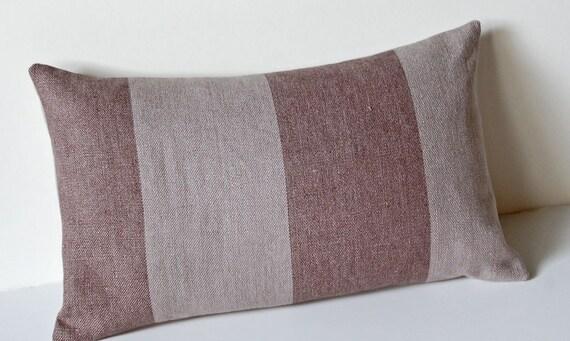 Warm Gray Brown Linen Stripe Lumbar Throw Pillow Cover 12x16 with Organic Cotton Envelope Back