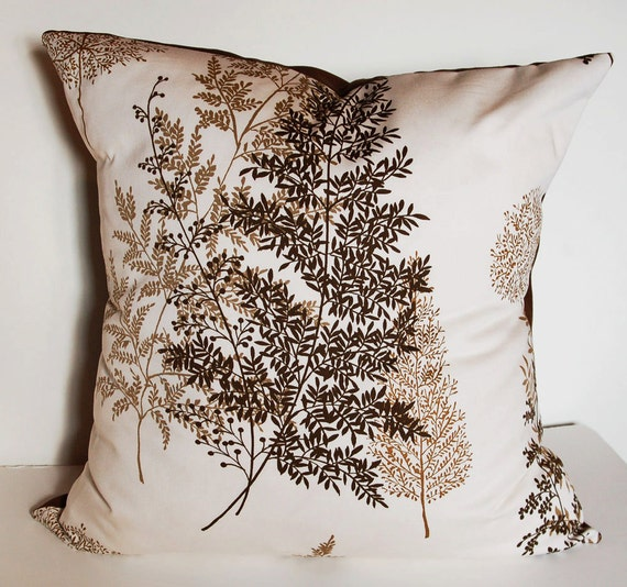 Removable 24 inch Floor Pillow or Big Throw Pillow Cover in Brown Nature Fern Home Dec