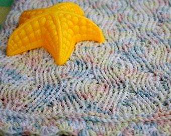 Knitting Pattern (PDF file) Baby Blanket Sea Wave