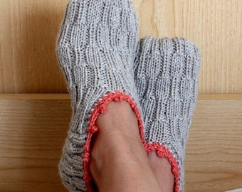 Knitting Pattern (PDF file) - Double Sole Home Slippers (adult size)