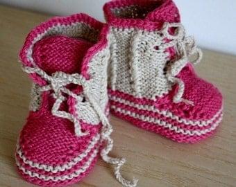 Knitting Pattern PDF file Baby Moccasins with Lace 0-6/6-12