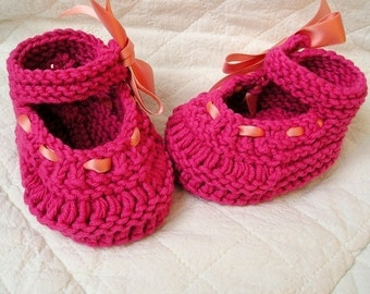 Knitting Pattern (PDF file) - Baby Shoes Mary Jane with Ribbon