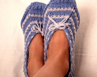 Knitting Pattern (pdf file)- Blue Home Slippers (Adult size)