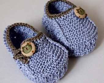 Knitting Pattern -  Baby Booties Funny Cats (0-6/6-12 months)