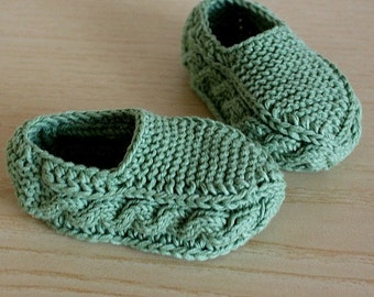 Knitting Pattern (PDF file) Cable Slippers for Baby and Toddler (sizes from 3 months till 3 years old)