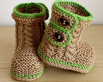 Knitting Pattern (PDF file) Spring Breath Booties (0-6/6-12 - months)
