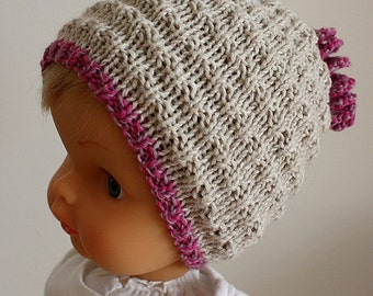 Kniting Pattern (PDF file) Stream Baby Hat ( sizes for 0-3/3-6/6-12/12-24 months)