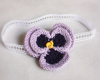 Knitting Pattern (Pdf file) Pansy headband