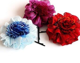 Crochet Pattern / Tutorial / Headband/Bobby Pin/ Beautiful Flower (all sizes)