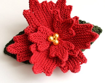 Knitting Pattern (pdf file) Christmas Flower - Headband/Brooch/ Hair Accessories
