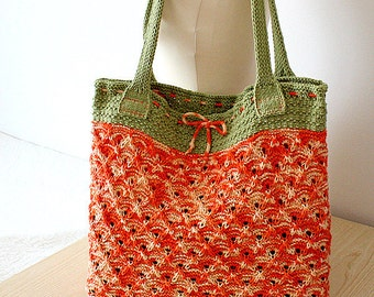 Knitting Pattern (pdf file) Bright Summer/Tote Bag (Double Handles)