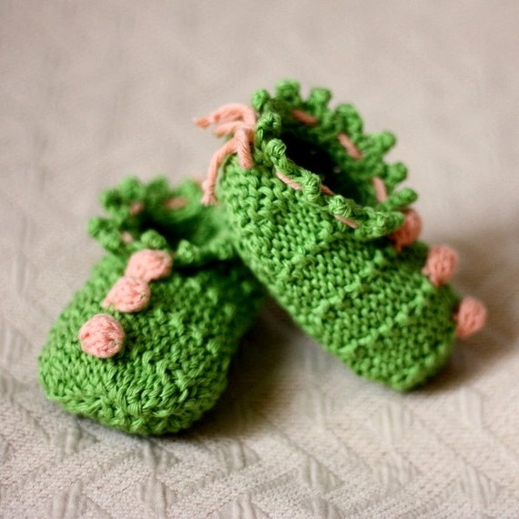 Knitting PATTERN (PDF file) Baby Booties 3 Bobble (0-6/6-12 months)