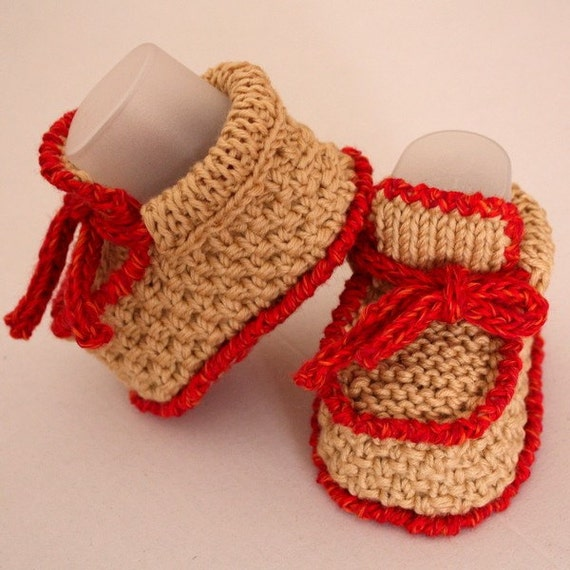 Knitting PATTERN (PDF file) BABY Moccasins with Lace (0-6/6-12 months)