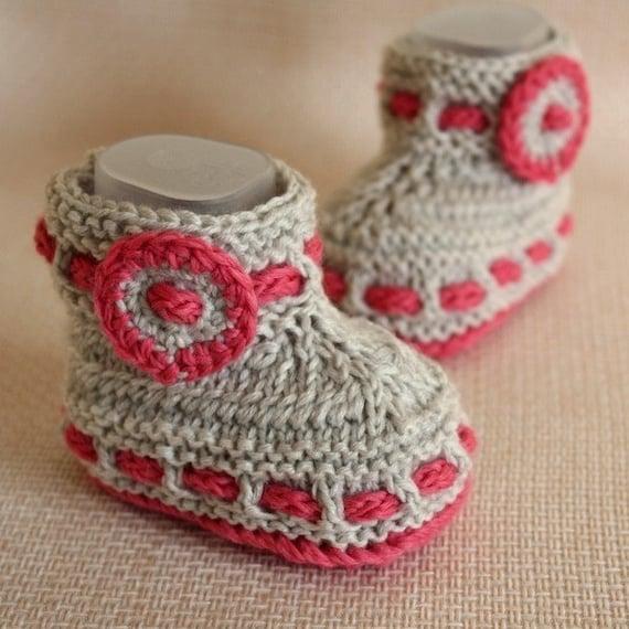Knitting Pattern (PDF file) Grey Baby Booties (0-6/6-12 months)