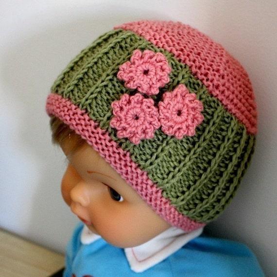 Knitting Pattern Baby Hat 12 Months : Knitting pattern pdf file Daisy Baby Hat 0-3/3-6/6-12/12-24
