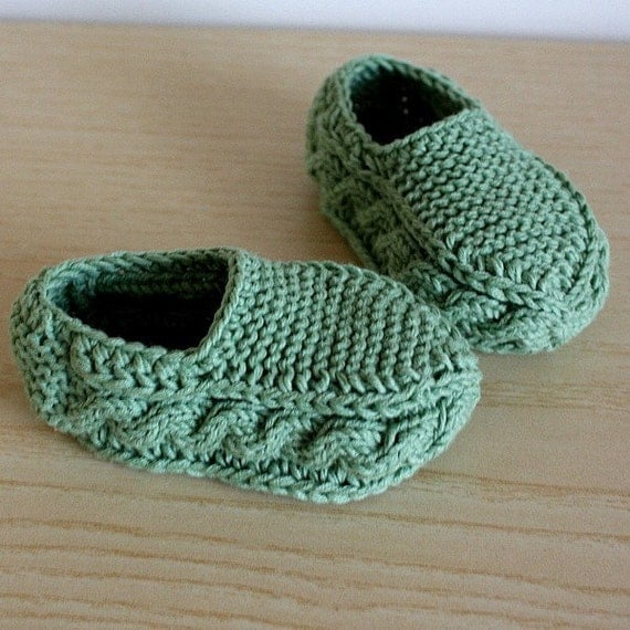 Knitted Baby Moccasins Pattern : Knitting Pattern PDF file Cable Slippers for Baby and