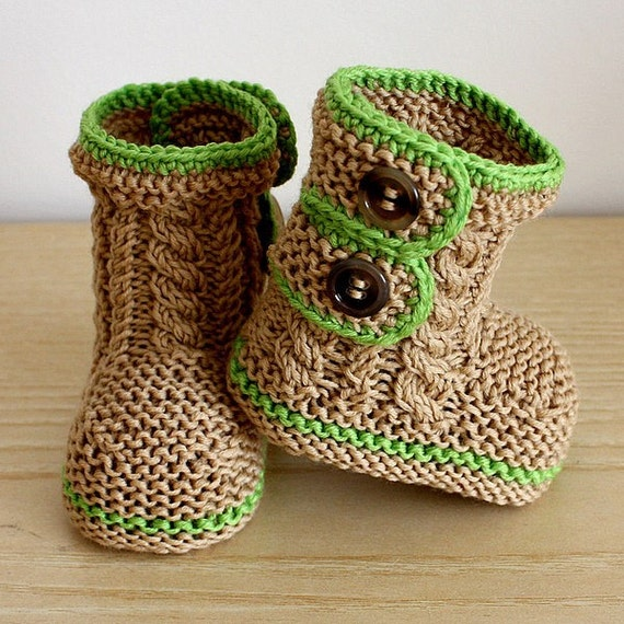 Knitting Pattern (PDF file) Spring Breath Booties (0-6/6-12 - months)