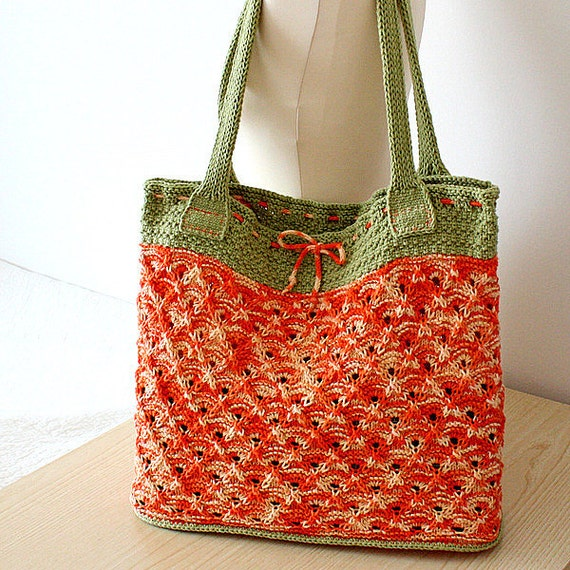 Knitted Tote Bag Patterns : Knitting Pattern pdf file Bright Summer/Tote Bag Double