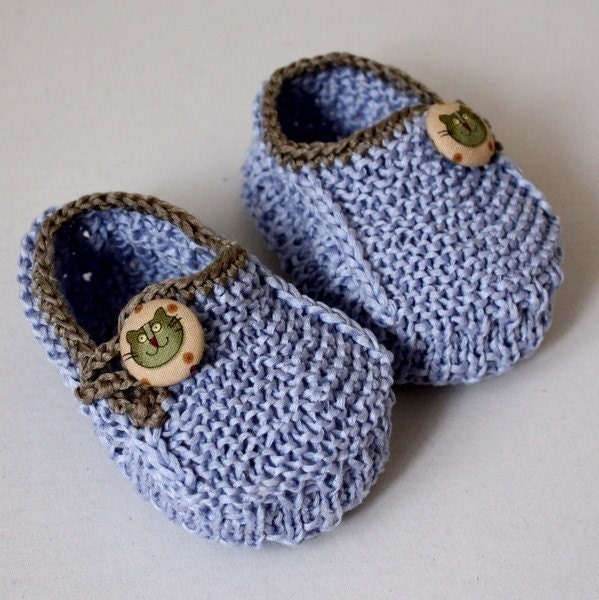 Knitting Patterns For Toddlers Booties : Knitting Pattern Baby Booties Funny Cats 0-6/6-12 months