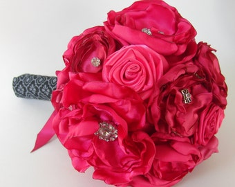 Shades of Hot Pink Satin Flower Bouquet