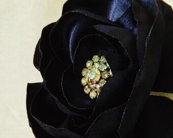 Midnight Blue Flower Brooch with Vintage Rhinestone Center