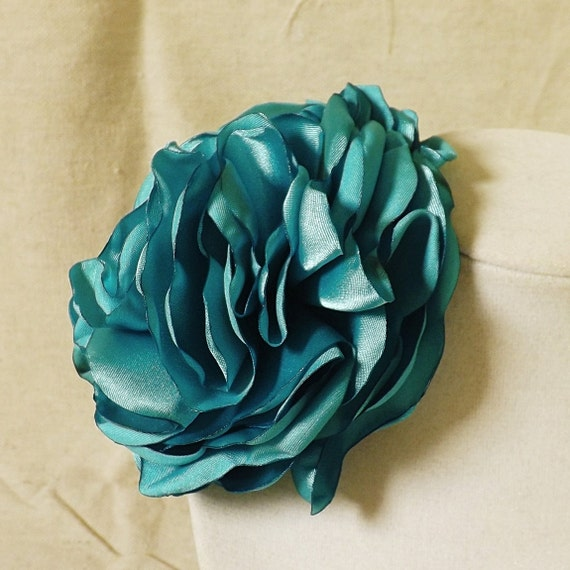 Turquoise Satin Ruffled Flower Brooch