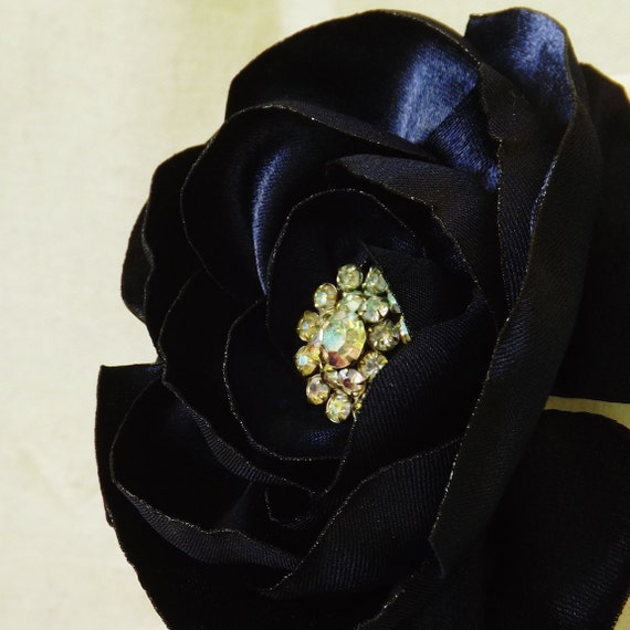 Midnight Blue Flower Brooch with Vintage Rhinestone Center