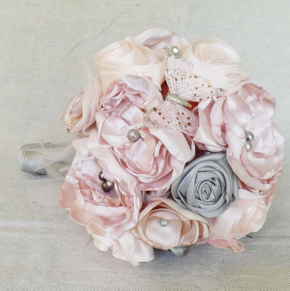 Pale Pink and Grey Satin Bridal Bouquet -small