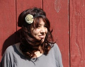 fabric flower headband - khaki