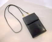 SALE    Wallet on a String. Black leather  1980s.
